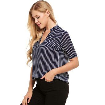 9b969ded52141 Blusa Casual Camiseta Moda V-cuello De Manga Corta Rayas De Gasa T-Shirt