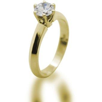 Anillo De Compromiso Solitario S-27 Con Montadura De Oro Amarillo De 14Kt Y  Diamante 9724f34aa8