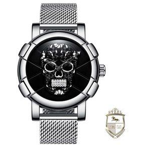 51379adc0 Reloj Calavera Sugar Skull Silver And Black Steel Mx