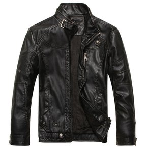 e8fdfa2aa888c Chaquetas de cuero de la motocicleta Hombres Jaqueta MC1070-Negro