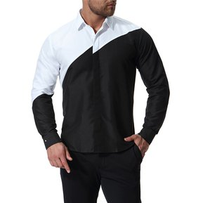 0c2113e074e03 Costura De Color Camisas Casual Solapa Manga Larga Vestido Camisas Hombres