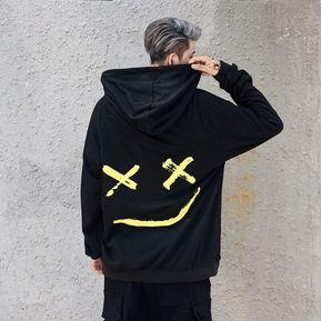 5a2460c14681c Hip Hop Street sonriendo con capucha camisa-Negro