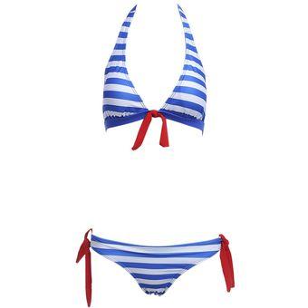 2d96e97e739f Compra Mujeres playa natación sexy rayas bikini separadas traje de ...