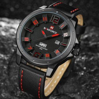 40785bd04538 Relojes Analógico Cuarzo Hombre Naviforce 3D Dial Reloj Deportivo Cuero- Negro Rojo