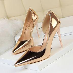 7ac4b651 Zapatos de tacón alto para mujer con zapatos simples de tacón alto de metal