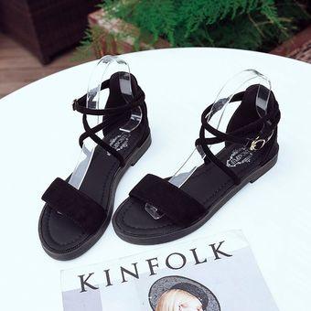 Verano Moda Todos De Puntera Zapatos Planas Cómodos Negro Femenina Sandalias Abierta Match Talón On08kPXw