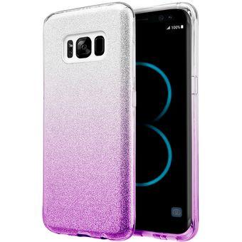 ae1510877d9d5 Funda Case Para Samsung S8 (No Plus) Con Brillos Luxury - Silver Con Morado
