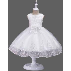 d1a66ca340 Chica encaje lentejuelas vestido princesa falda - Blanco