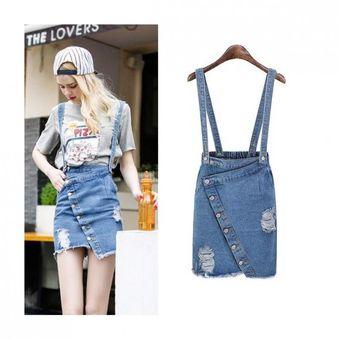 3e96be229 Moda Femenina Falda A Media Pierna Denim Jeans Faldas-Azul