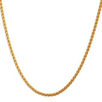 07746d8e9a79 Agotado U7 Cadena collar chapado en oro 18K hecho con cadena trigo joyas de  moda para hombre