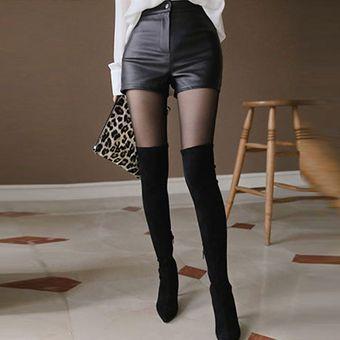 Pantalones Cortos De Piel Sintetica De Cintura Alta Pantalones Cortos Negros A La Moda De Estilo