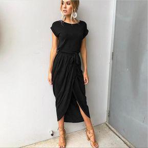 a7bd89c04 Vestido de noche de mujer Ranura delantera Vestidos delgados-Gris oscuro