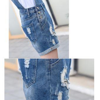nuevo estilo 9006a f912b monos de jeans rotos para mujer jeans de jumpsuit corto de mezclilla