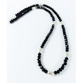 20f98c2588403 Fernanda Romero - Collar Murano Negro 50cm Detalles Ovalados Plata 950