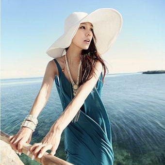 360c110fe4e4e E-Thinker Sombrero Para El Sol Para Playa Sombrero Grande Gorra-Blanco