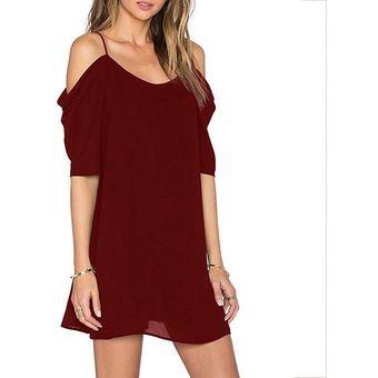 99a3f519c3 Compra Vestido Casual Generico Tirantes Y De Gasa Rojo Oscuro ...