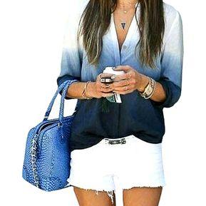 d63a1e25e223b Blusa Para Mujeres De Color Cambio Paulatino Y Cuello De Forma V - Azul