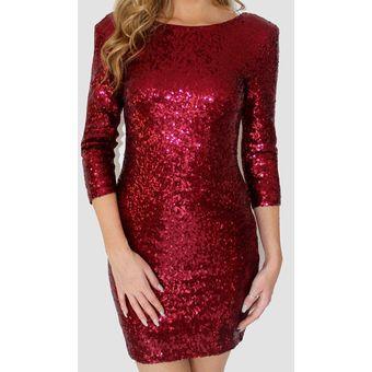 6eaf123d1bc Vestido de Coctel E-Thinker con lentejuelas y manga larga para mujer - Rojo
