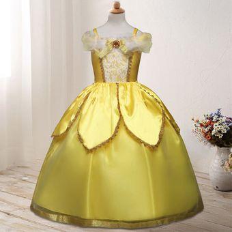 Moda Vestidos De Princesas Para Niñas Con Ramillete Amarillo