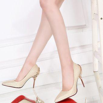 c12d7f75572a3 Mujer Compra Tacón Zapatos De Delgado Metal Para 1qUH16x