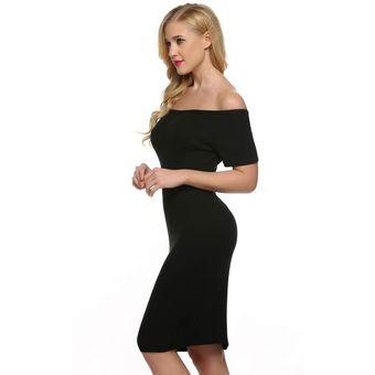 8be2305e3 Compra Vestido Fino Hombro Descubierto Para Mujer-Negro online ...