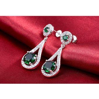 3539b05923e0 Compra Aretes Largos De Circonias Y Plata 925 Verde Esmeralda Amour ...