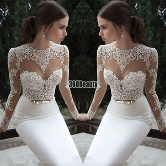Vestidos de encaje manga larga blanco