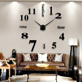 15d2135c3936 EH Sala De Arte Diseño Gran 3D DIY Eva Colgando Reloj De Pared Espejo  Decoracion