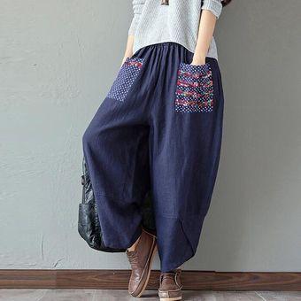 Mujer Elástica Cintura Retro Impresión Lino Pantalones Harem cf12e19f8109