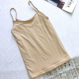 Otoño invierno mujer espaguetis correa Tank Top Underwear O-cuello Chaleco  engrosada Beige 1af5cfb804405