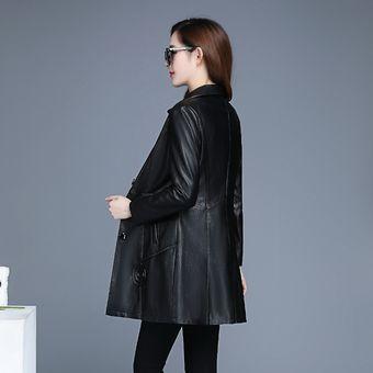 diseño elegante en pies imágenes de oficial de ventas calientes Ropa De Cuero Para Mujer Señoras Chaqueta De Cuero Mediana Larga Adorno