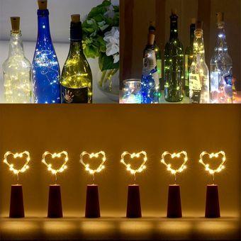 42d4e99cf09 6 Pcs 18 LEDs Impermeable Mini Corcho De Botella De Alambre De Cobre Cadena  De Luz
