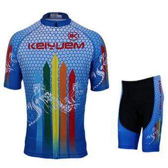 Transpirable Ciclismo Ropa De Hombres Ropa Del Equipo Deporte Jersey  Respirables Manga Corta Un Treje Azul 5b9a8d29c07c6