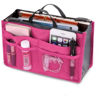 9376aace1 Multifunción viaje neceser maquillaje organizador bolso para mujer- Rosa  Roja