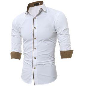 4313dd29fb Camisa Borde Cerrado Color Cuello de Dobladillo (Blanco)