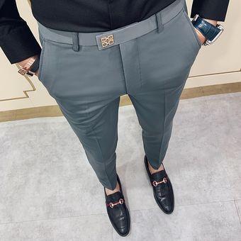 Casual Slim Fit Mens Vestir Pantalones Traje De Calle Pantalones Hombres 34 Alta Calidad Caballeros Pantalones De Oficina Hombres Todos Coinciden Con La Longitud Del Tobillo Xyx Grey 618 Linio Peru Ge582fa0kfntjlpe
