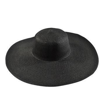 E-Thinker Sombrero Para El Sol Para Playa Sombrero Grande Gorra-Negro 23919dcffd5