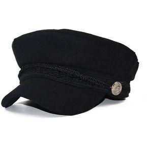 8d855300f2283 Moda Visor sólido Gorra militar Vintage Lana Boina Patchwork Tapa para mujer  Negro