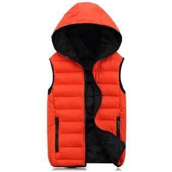 chaleco Mujer Invierno encapuchados sin para abrigos Naranja Cálido Mens Moda Hombre Chaqueta mangas l1KJTFc3