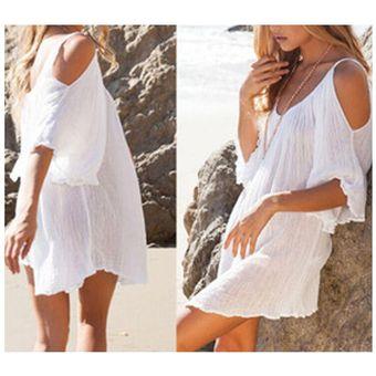 395e966cb Agotado Vestido Blanco Corto Suelto Casual Con Manga Media Suelta De Playa  Verano