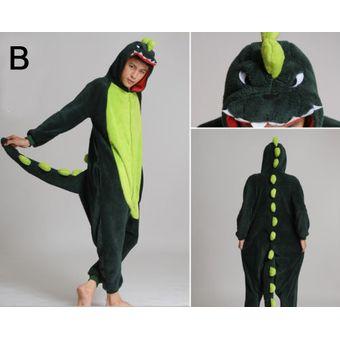 Unisex Cálido Pijamas Mamelucos Para Adultos Cosplay Animales De Vestuario  Ropa De Dormir -Dinosaurio a421949f3582