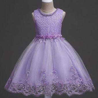 Vestido De Novia De Princesa Vestido Muestra Cumpleaños Tutú Niña Púrpura