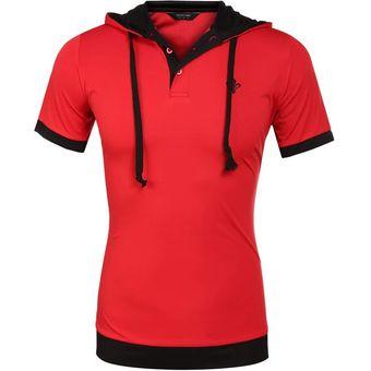 04891516933c7 COOFANDY Hombres Moda Casual De Manga Corta Slim Patchwork Con Capucha Camisa  De Polo-Rojo