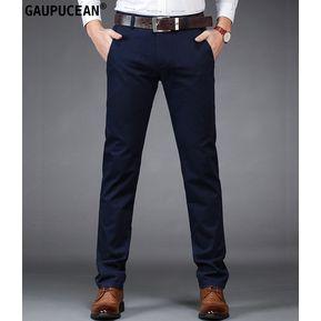 Pantalones Casual Algodón Formal Gaupucean Para Hombre-Armada e5b6994515c0d