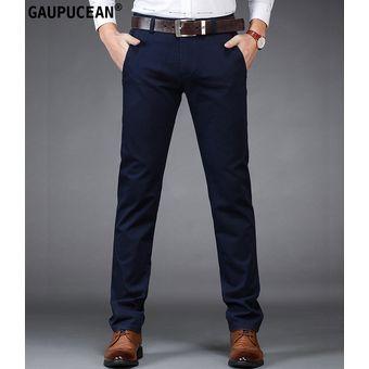 Compra Pantalones Casual Algodón Formal Gaupucean Para Hombre-Armada ... fbd9185307a