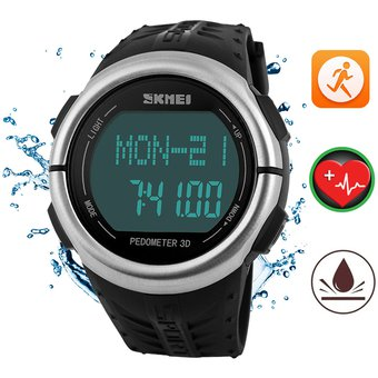 e021f352b612 Reloj Podómetro SKMEI Hombre Ritmo Cardiaco Deportivo Impermeable