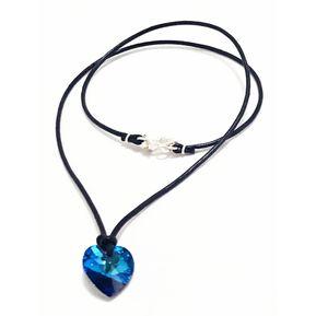 e4fb91f83c08 Juego De Collar Corazón - Azul Titanic Con Cristales Swarovki