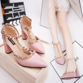 Zapatos De Tacón Remache Zapatos Romanos Para Mujer - Rosa 327a94a31042