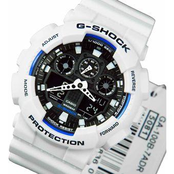 881095d265e5 Agotado Reloj Casio G-Shock GA100B-7A Digital Analógico Luz Led Alarma  Acuático - Blanco