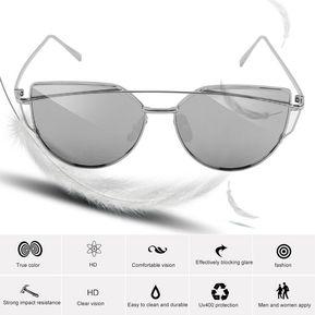 cccd08d892 Gafas De Sol Del Ojo De Gato Marco De Plata Mercurio Blanco Reflectante E -ibuybuybuy